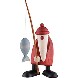 Santa Claus with Fishing Rod  -  13cm / 5 inch