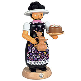 Smoker  -  Black Forest Lady with Smoking Pot  -  25cm / 10 inch
