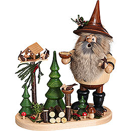 Smoker  -  Forest Gnome Bird Lover on Oval Plate  -  26cm / 10.2 inch