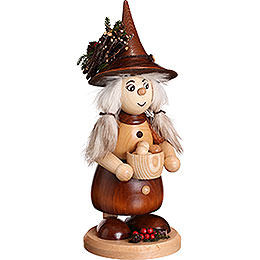 Smoker  -  Lady Gnome with Cooking Pot, Natural  -  25cm / 10 inch