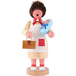Smoker  -  Midwife with Baby Blue  -  18cm / 7 inch