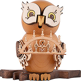 Smoker  -  Owl with Candle Arch  -  15cm / 5.9 inch