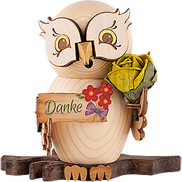 """Smoker  -  Owl with """"Thank you""""  -  15cm / 5.9 inch"""