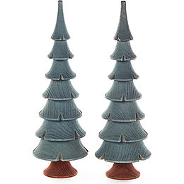 Solid Wood Trees  -  Green  -  2 pieces  -  14,5cm / 5.7 inch