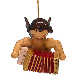 Tree Ornament  -  Angel with Accordion  -  Natural Colors  -  Floating  -  5,5cm / 2,1 inch