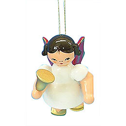 Tree Ornament  -  Angel with Bell  -  Red Wings  -  Floating  -  6cm / 2,3 inch