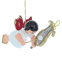 Tree Ornament  -  Angel with Chime  -  Red Wings  -  Floating  -  5,5cm / 2.2 inch