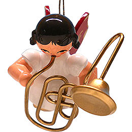 Tree Ornament  -  Angel with Contrabass Trombone  -  Red Wings  -  Floating  -  5,5cm / 2.2 inch