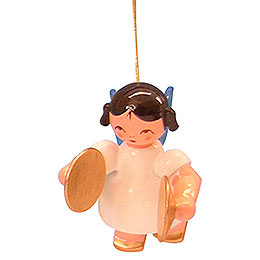 Tree Ornament  -  Angel with Cymbal  -  Blue Wings  -  Floating  -  5,5cm / 2,1 inch