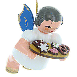 Tree Ornament  -  Angel with Gingerbread Plate  -  Blue Wings  -  Floating  -  5,5cm / 2.2 inch