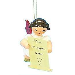 Tree Ornament  -  Angel with List of Whishes  -  Red Wings  -  Floating  -  6cm / 2,3 inch
