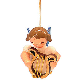 Tree Ornament  -  Angel with Lyre  -  Blue Wings  -  Floating  -  5,5cm / 2,1 inch