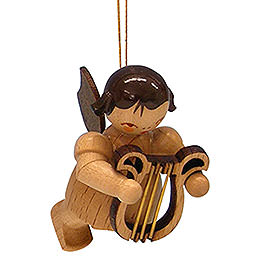 Tree Ornament  -  Angel with Lyre  -  Natural Colors  -  Floating  -  5,5cm / 2,1 inch