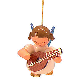 Tree Ornament  -  Angel with Mandolin  -  Blue Wings  -  Floating  -  5,5cm / 2,1 inch