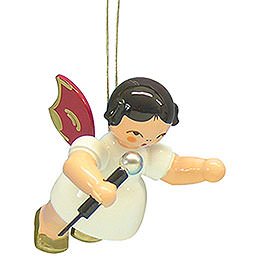Tree Ornament  -  Angel with Microphone  -  Red Wings  -  Floating  -  5,5cm / 2,1 inch
