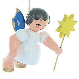 Tree Ornament  -  Angel with Star  -  Blue Wings  -  Floating  -  5,5cm / 2.2 inch