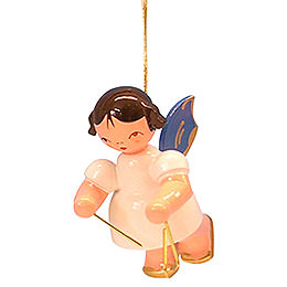 Tree Ornament  -  Angel with Triangle  -  Blue Wings  -  Floating  -  5,5cm / 2,1 inch
