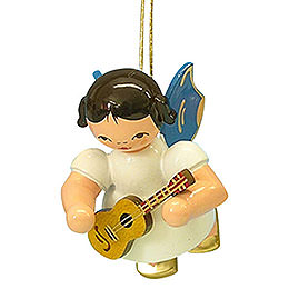 Tree Ornament  -  Angel with Ukulele  -  Blue Wings  -  Floating  -  5,5cm / 2,1 inch