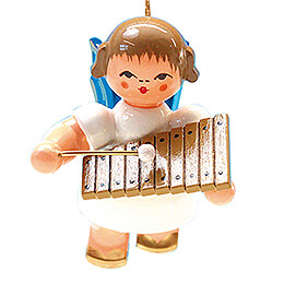 Tree Ornament  -  Angel with Xylophone  -  Blue Wings  -  Floating  -  5,5cm / 2.2 inch
