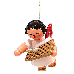 Tree Ornament  -  Angel with Xylophone  -  Red Wings  -  Floating  -  5,5cm / 2.2 inch