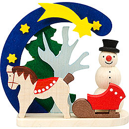 Tree Ornament  -  Arch and Snowman with Horse  -  7cm / 2.8 inch