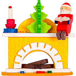 Tree Ornament  -  Little Fireplace with Santa Claus  -  6cm / 2.4 inch