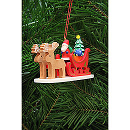 Tree Ornament  -  Santa Claus in Reindeer Sleigh  -  9,7cm / 3.8 inch