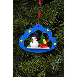Tree Ornament  -  Snowman in Angel Cloud  -  7,5x5,7cm / 3x2 inch