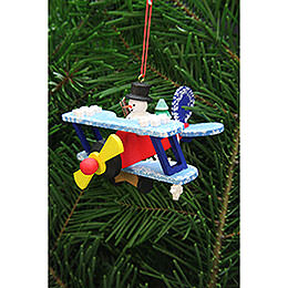 Tree Ornament  -  Snowman in Plane  -  9,6cm / 3.8 inch