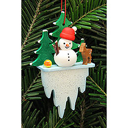 Tree Ornament  -  Snowman on Icicle  -  5,5x8,8cm / 2.2x3.4 inch