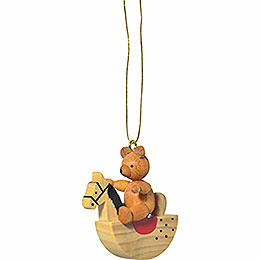 "Tree Ornament  -  ""Teddy on Rocking Horse""  -  5cm / 2 inch"