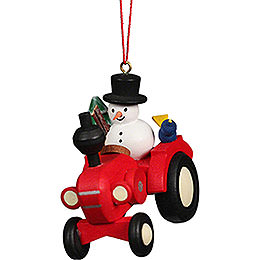 Tree Ornament Tractor with Snowman  -  5,7x5,6cm / 2.3x2.3 inch