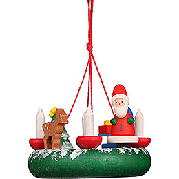 Tree Ornament  -  Wreath with Santa Claus  -  4,2cm / 1.7 inch