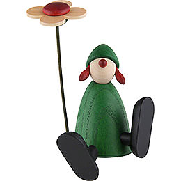 Well - Wisher Sophie with Flower Sitting/Dancing on Edge, Green  -  9cm / 3.5 inch
